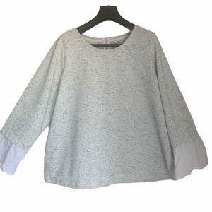 Reitman's long sleeve grey top black specks plus